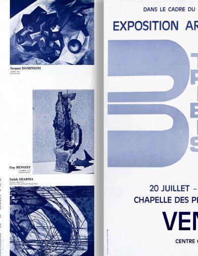 Affiche expositions arts plastique avec Jacques Dominioni Franta Cipriani Sharma Crozals Benoist à Vence chapelle des pénitents blancs juillet août 1973