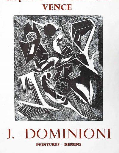 Affiche exposition de peinture de Jacques Dominioni peintre à Vence Chapelle des Penitents Blancs septembre octobre 1973