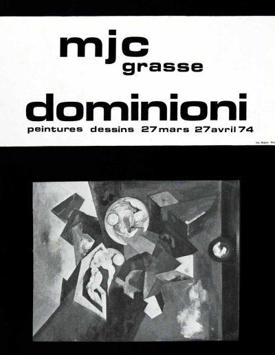Affiche exposition de peinture de Jacques Dominioni peintre à la MJC de Grasse mars avril 1974