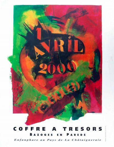 Affiche exposition de peinture de Jacques Dominioni peintre au Coffre à Trésor Bazoges en Pareds avril 2000