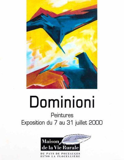Affiche exposition de peinture de Jacques Dominioni peintre à Maison de la Vie Rurale Pays de Pluzauges 85700 La Flocellière Juillet 2000