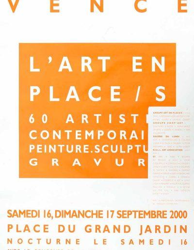 Affiche exposition collective Jacques Dominioni peintre à Vence Art en Place septembre 2000