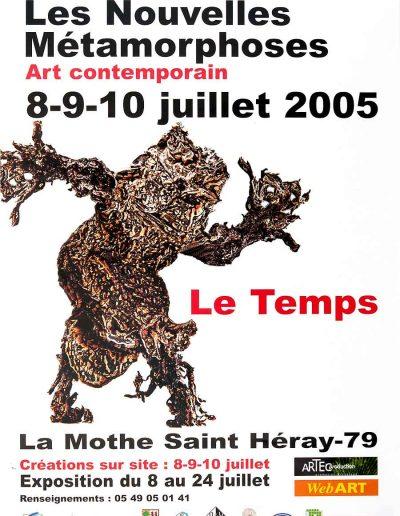 Affiche exposition de peinture de Jacques Dominioni peintre à La mothe Saint Héray 79 Les nouvelles métamorphoses art contemporain juillet 2005