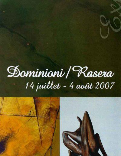 Affiche exposition de peinture de Jacques Dominioni peintre et Rasera Sculpteur à galerie de la Tour 85 Vouvant Vendée août 2007