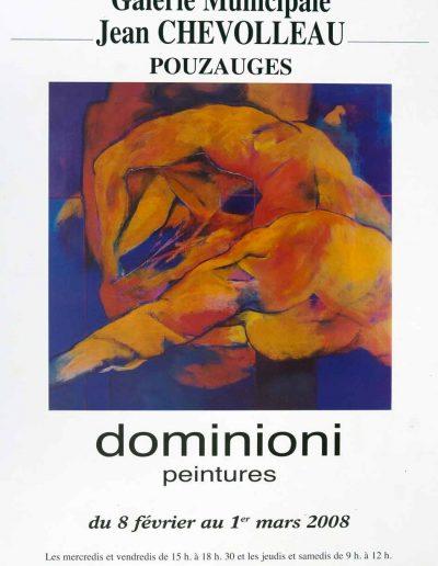 Affiche exposition de peinture de Jacques Dominioni peintre à la Galerie Municipale Jean Chevolleau Pouzauges fevrier mars 2008