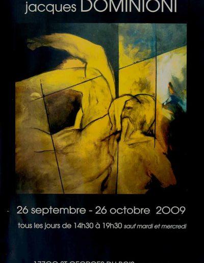 Affiche exposition de peinture de Jacques Dominioni peintre Galerie art Clos des Cimaises 17700 St_Georges du Bois Surgères octobre 2009