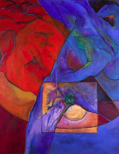 Acrylique sur toile – dimensions hauteur x largeur: 130 x 130 cm – Lyrisme figuratif – réf. 38JD17