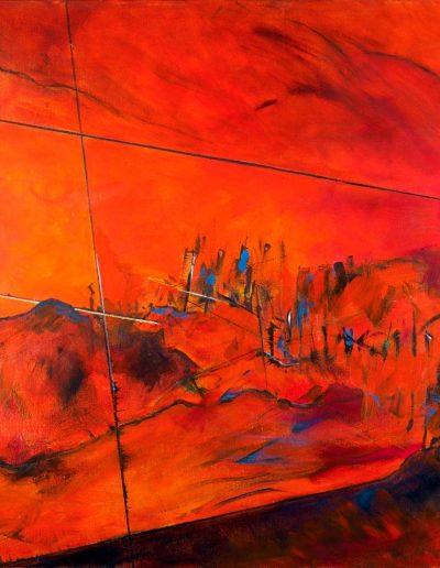 Acrylique sur toile – Diptyque 1/2 – dimensions hauteur x largeur: 140 x 140 cm – Lyrisme géométrique – réf. 39aJD17