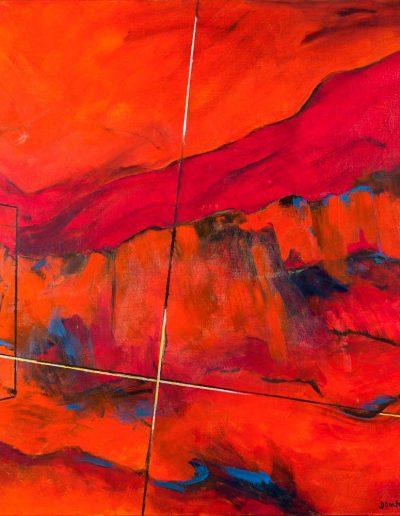 Acrylique sur toile – Diptyque 2/2 – dimensions hauteur x largeur: 140 x 140 cm – Lyrisme géométrique – réf. 39bJD17