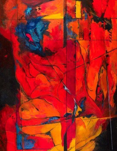 Acrylique sur toile – dimensions hauteur x largeur: 200 x 130 cm – Lyrisme géométrique – réf. 43JD17