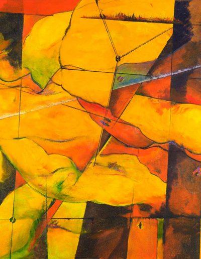 Acrylique sur toile – dimensions hauteur x largeur: 130 x 130 cm – Lyrisme géométrique – réf. 45JD17