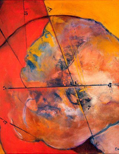 Acrylique sur toile – dimensions hauteur x largeur: 80 x 80 cm – Lyrisme géométrique – réf. 46JD17